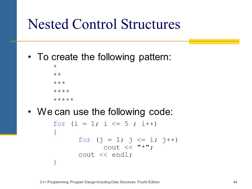 C++ Programming: Program Design Including Data Structures, Fourth Edition44 Nested Control Structures To create the following pattern: * ** *** **** ***** We can use the following code: for (i = 1; i <= 5 ; i++) { for (j = 1; j <= i; j++) cout << * ; cout << endl; }