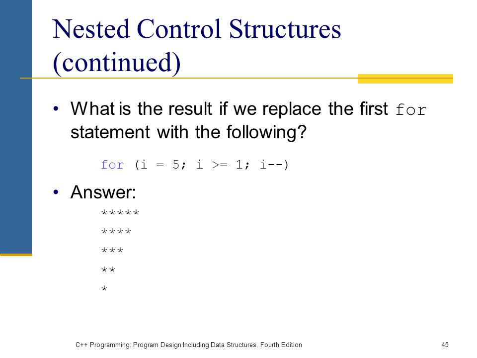 C++ Programming: Program Design Including Data Structures, Fourth Edition45 Nested Control Structures (continued) What is the result if we replace the first for statement with the following.