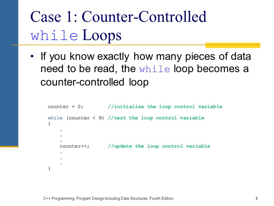 C++ Programming: Program Design Including Data Structures, Fourth Edition8 Case 1: Counter-Controlled while Loops If you know exactly how many pieces of data need to be read, the while loop becomes a counter-controlled loop