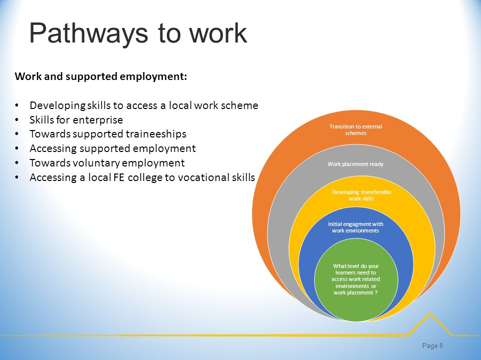 Pathways to work Page 8 Work and supported employment: Developing skills to access a local work scheme Skills for enterprise Towards supported traineeships Accessing supported employment Towards voluntary employment Accessing a local FE college to vocational skills Transition to external schemes Work placement ready Developing transferable work skills Initial engagment with work envrionments What level do your learners need to access work related environments or work placement