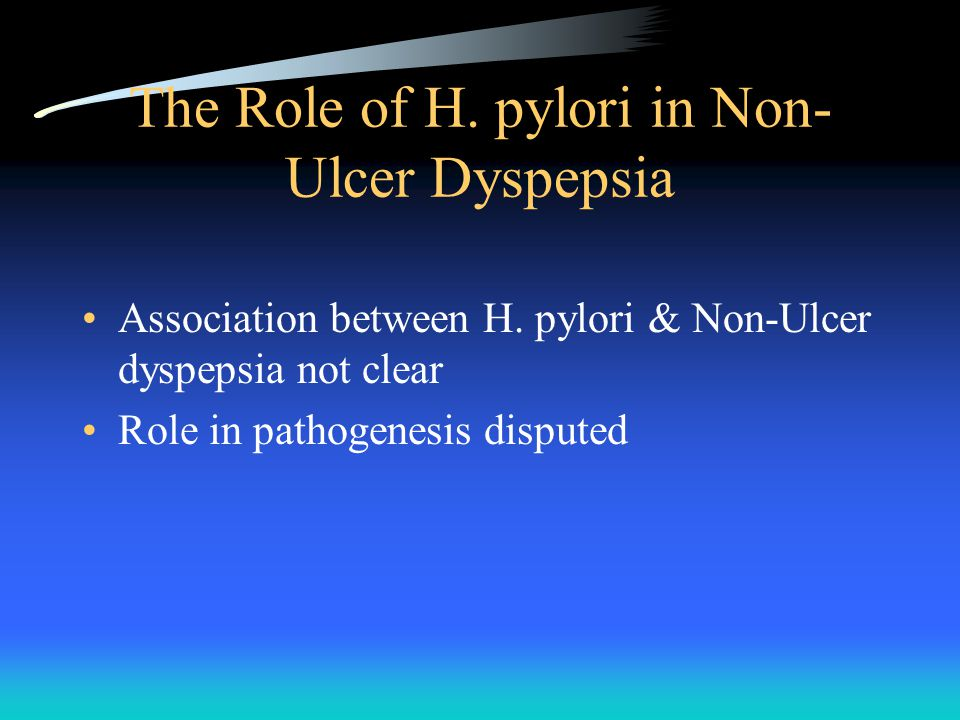 The Role of H. pylori in Non- Ulcer Dyspepsia Association between H.