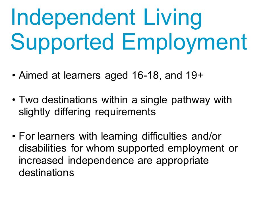 Aimed at learners aged 16-18, and 19+ Two destinations within a single pathway with slightly differing requirements For learners with learning difficulties and/or disabilities for whom supported employment or increased independence are appropriate destinations Independent Living Supported Employment