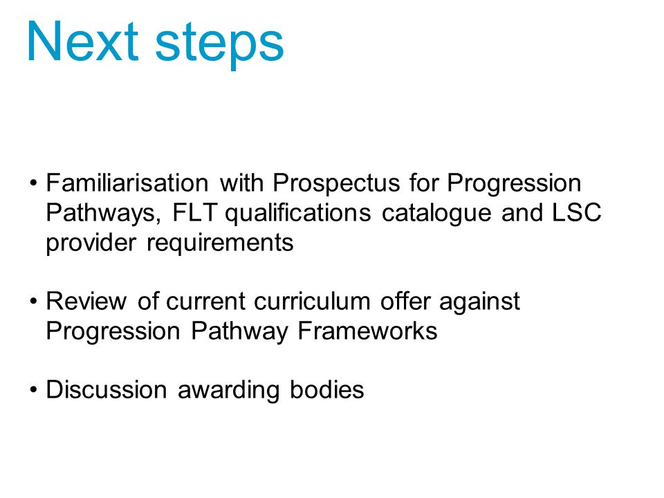 Familiarisation with Prospectus for Progression Pathways, FLT qualifications catalogue and LSC provider requirements Review of current curriculum offer against Progression Pathway Frameworks Discussion awarding bodies Next steps