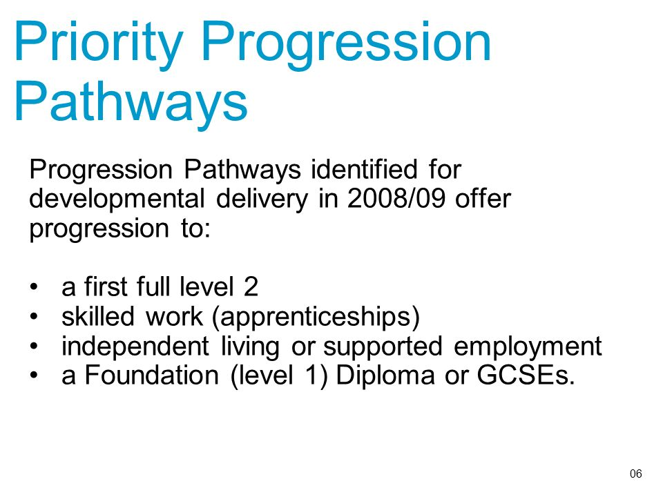 Priority Progression Pathways Progression Pathways identified for developmental delivery in 2008/09 offer progression to: a first full level 2 skilled work (apprenticeships) independent living or supported employment a Foundation (level 1) Diploma or GCSEs.