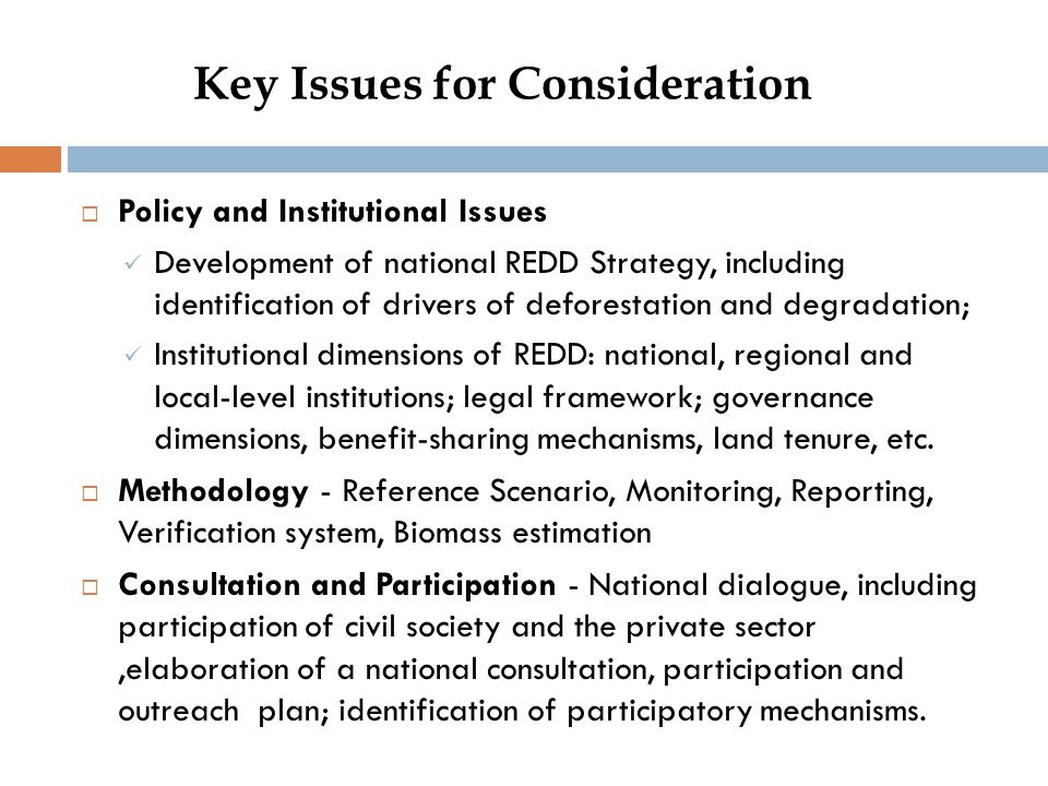 Key Issues for Consideration  Policy and Institutional Issues Development of national REDD Strategy, including identification of drivers of deforestation and degradation; Institutional dimensions of REDD: national, regional and local-level institutions; legal framework; governance dimensions, benefit-sharing mechanisms, land tenure, etc.