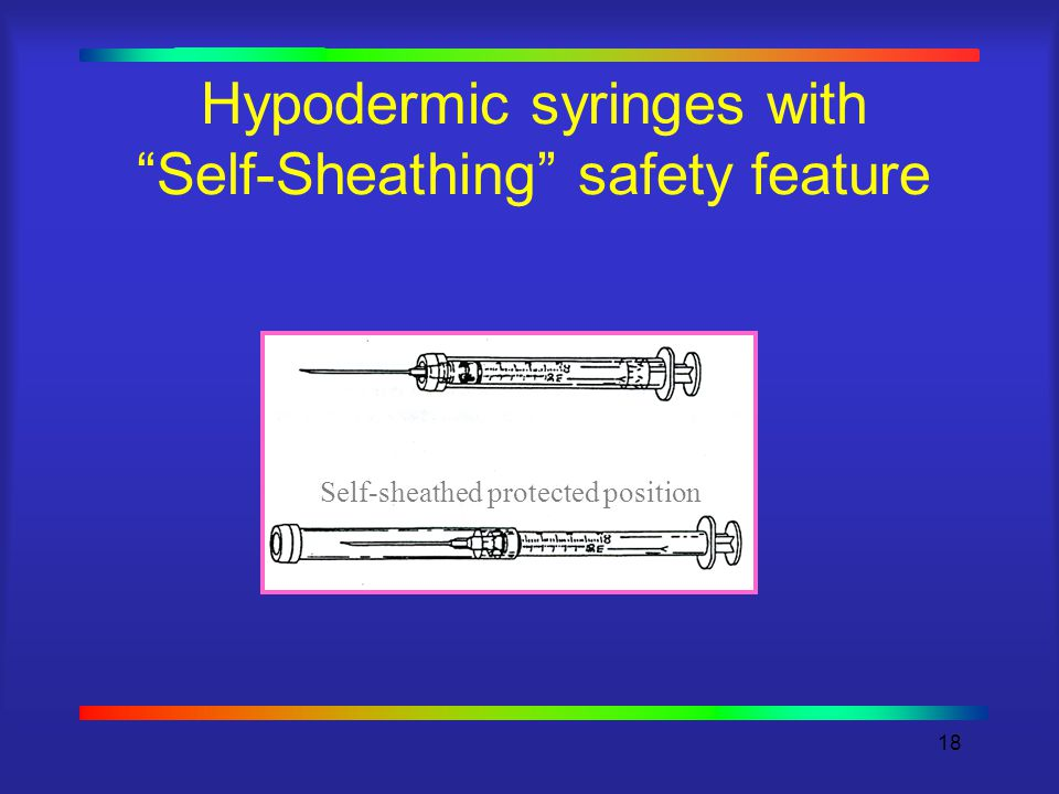 18 Hypodermic syringes with Self-Sheathing safety feature Self-sheathed protected position