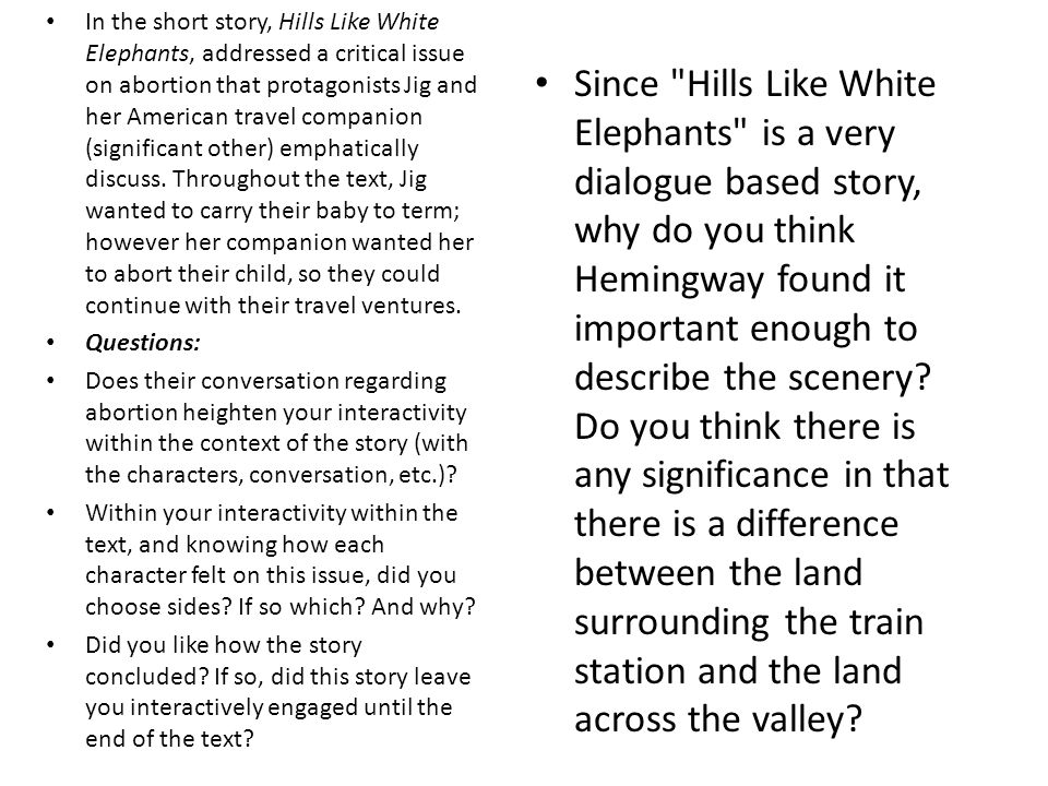 hills like white elephants discussion questions