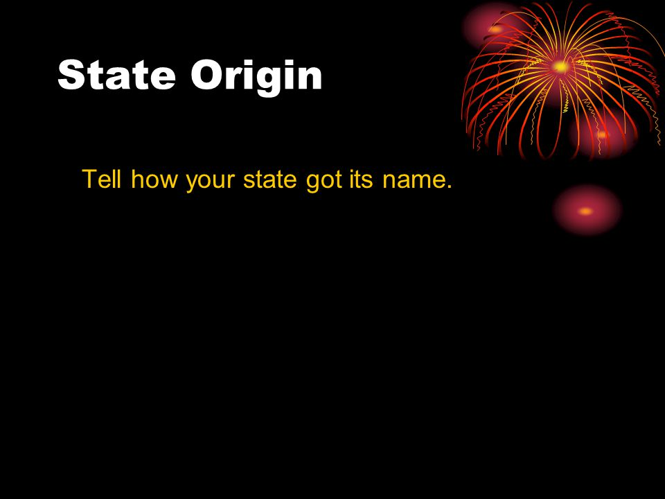 State Origin Tell how your state got its name.