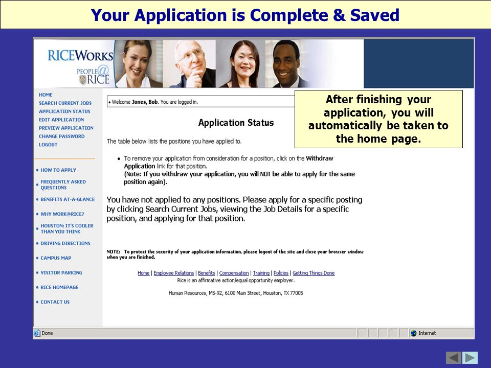 After finishing your application, you will automatically be taken to the home page.