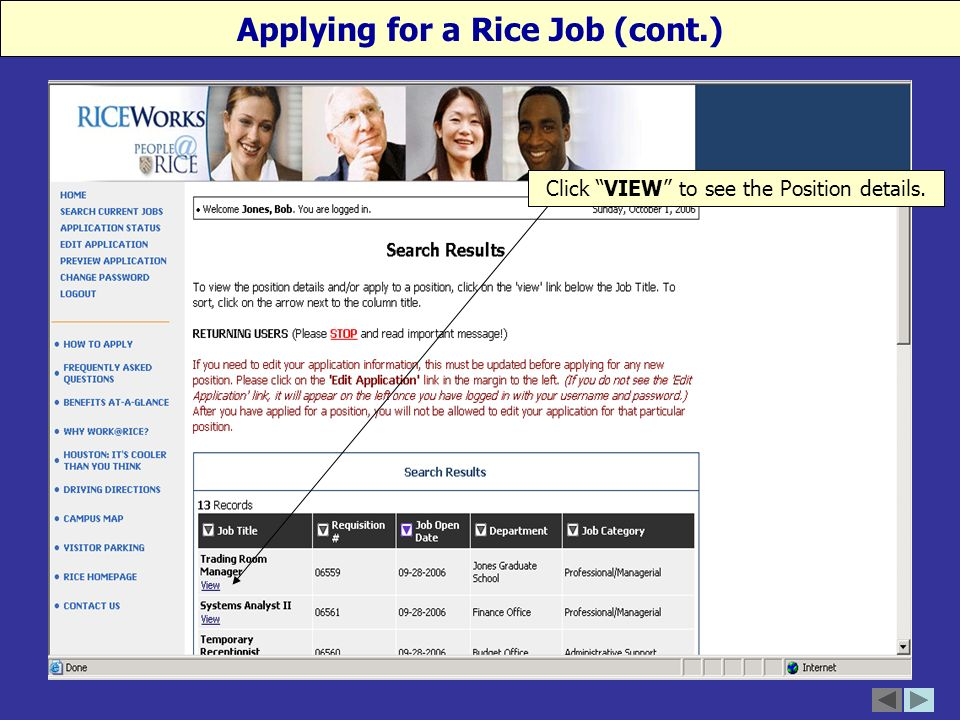 Click VIEW to see the Position details. Applying for a Rice Job (cont.)