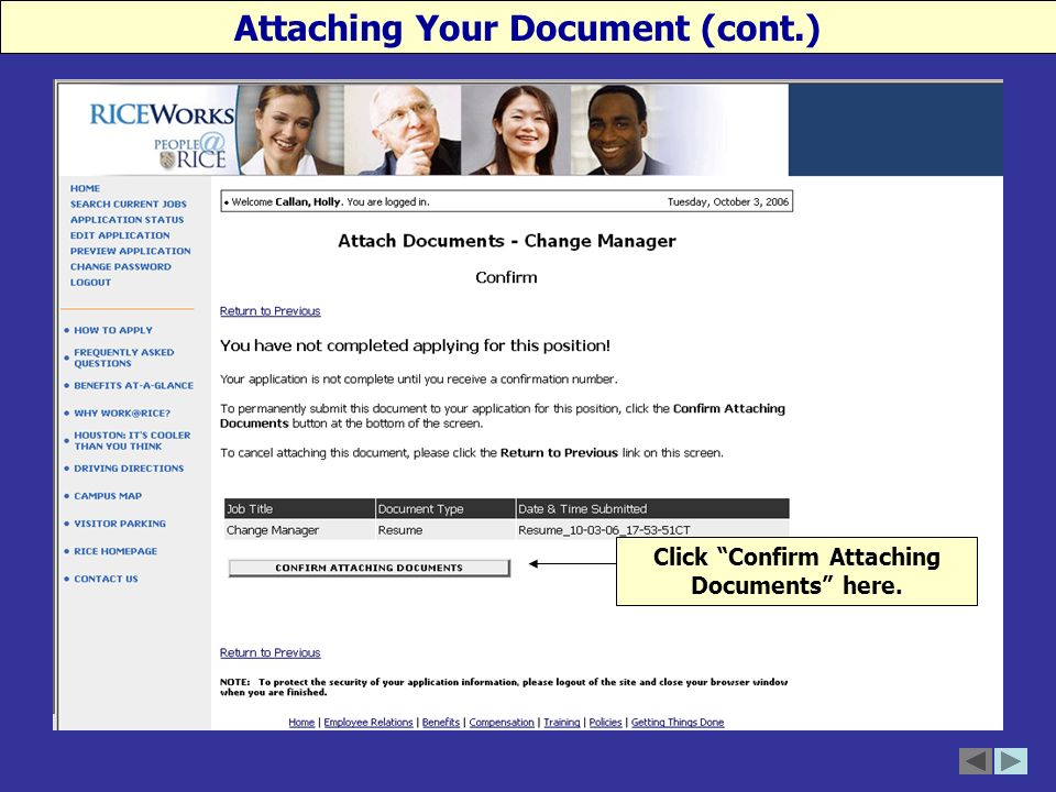 Click Confirm Attaching Documents here. Attaching Your Document (cont.)
