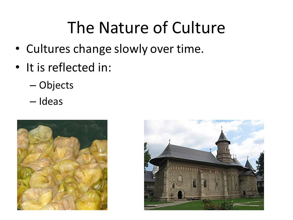 The Nature of Culture Cultures change slowly over time. It is reflected in: – Objects – Ideas