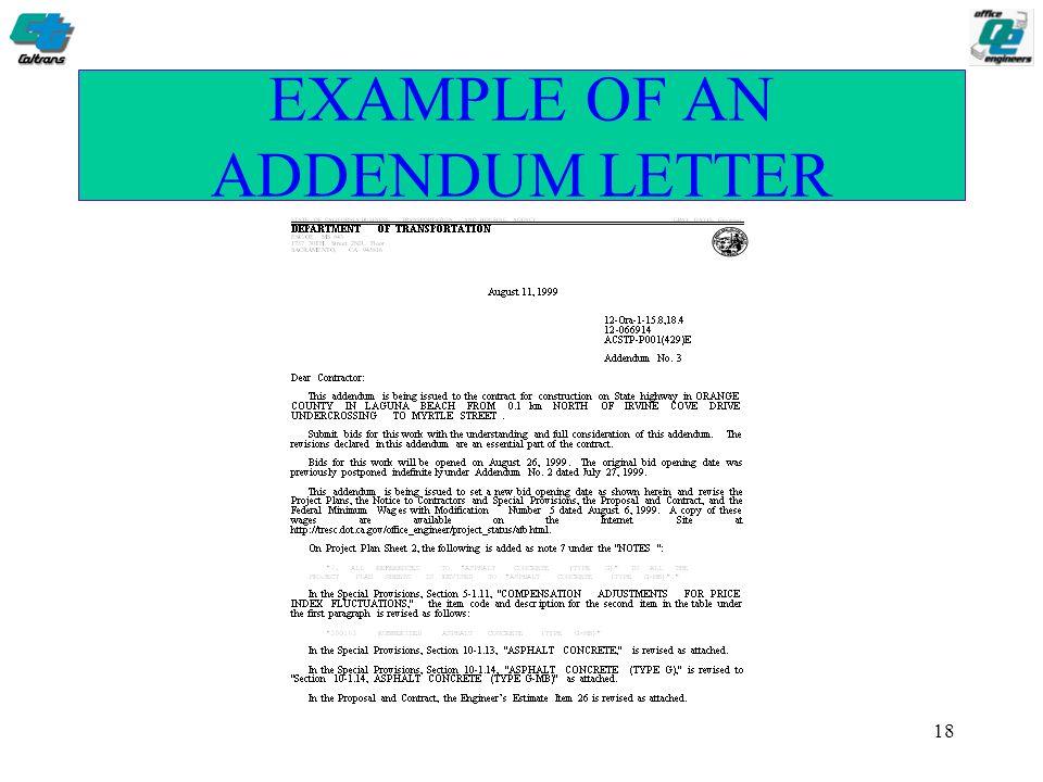 Addendum Sample Letter Agreement.1 Addendum Preparation Process Esc Oe Caltrans 2