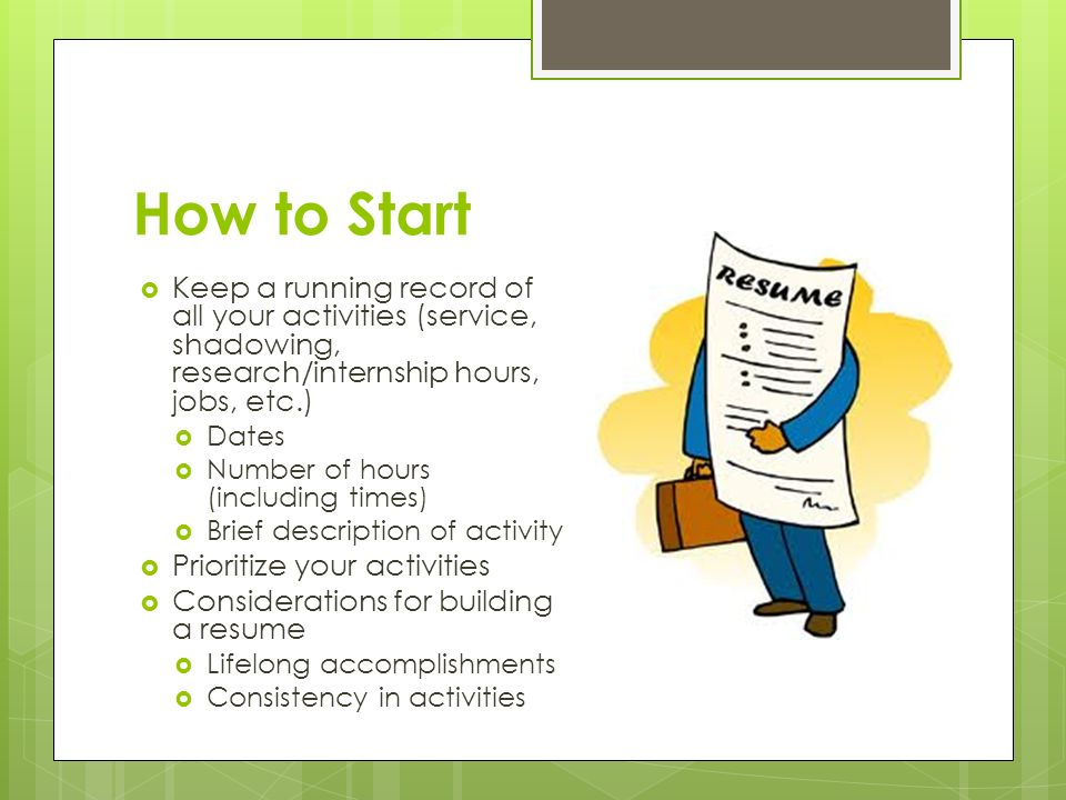How to Start  Keep a running record of all your activities (service, shadowing, research/internship hours, jobs, etc.)  Dates  Number of hours (including times)  Brief description of activity  Prioritize your activities  Considerations for building a resume  Lifelong accomplishments  Consistency in activities