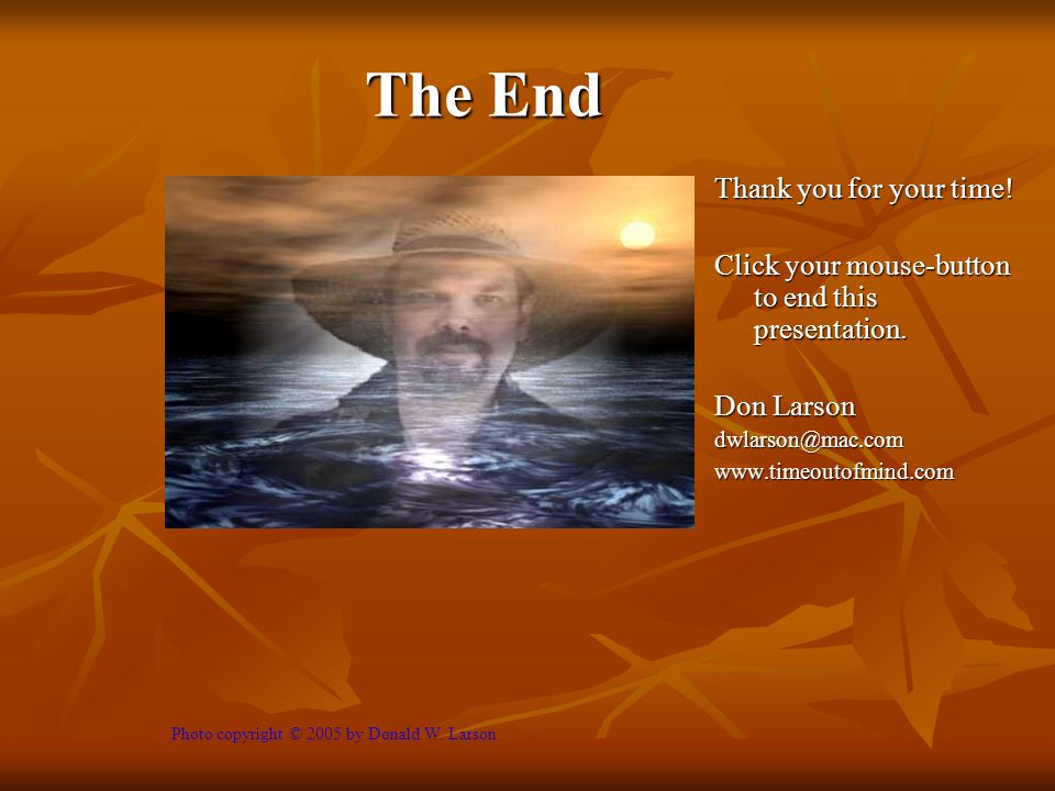 The End Thank you for your time. Click your mouse-button to end this presentation.
