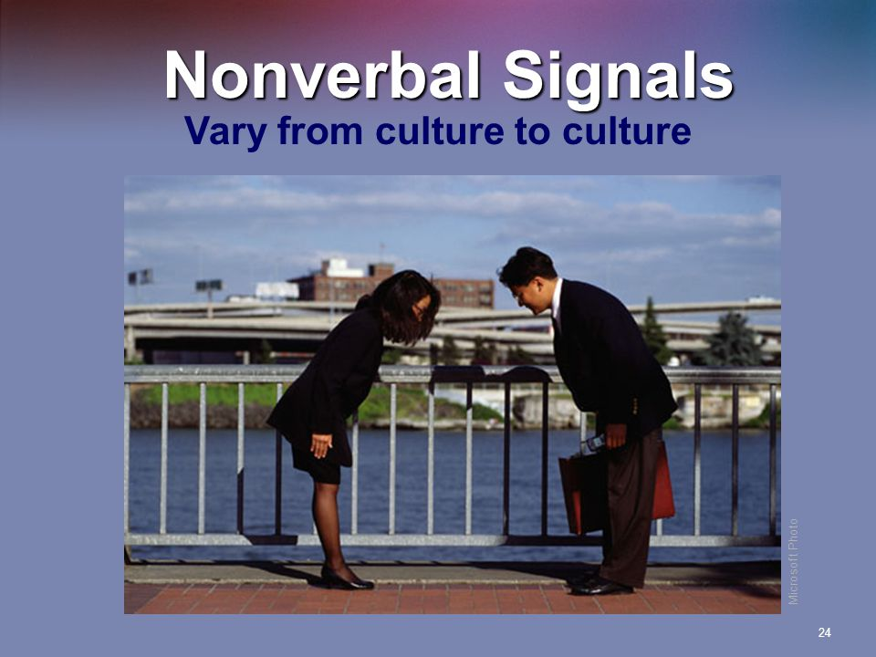 24 Nonverbal Signals Vary from culture to culture Microsoft Photo