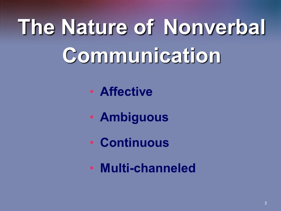 3 The Nature of Nonverbal Communication Affective Ambiguous Continuous Multi-channeled