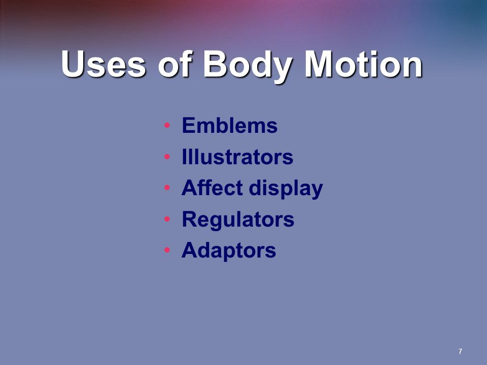7 Uses of Body Motion Emblems Illustrators Affect display Regulators Adaptors