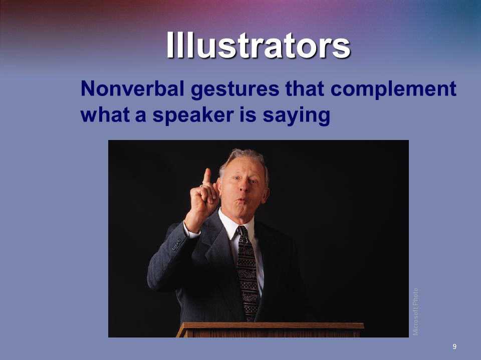 9 Illustrators Nonverbal gestures that complement what a speaker is saying Microsoft Photo