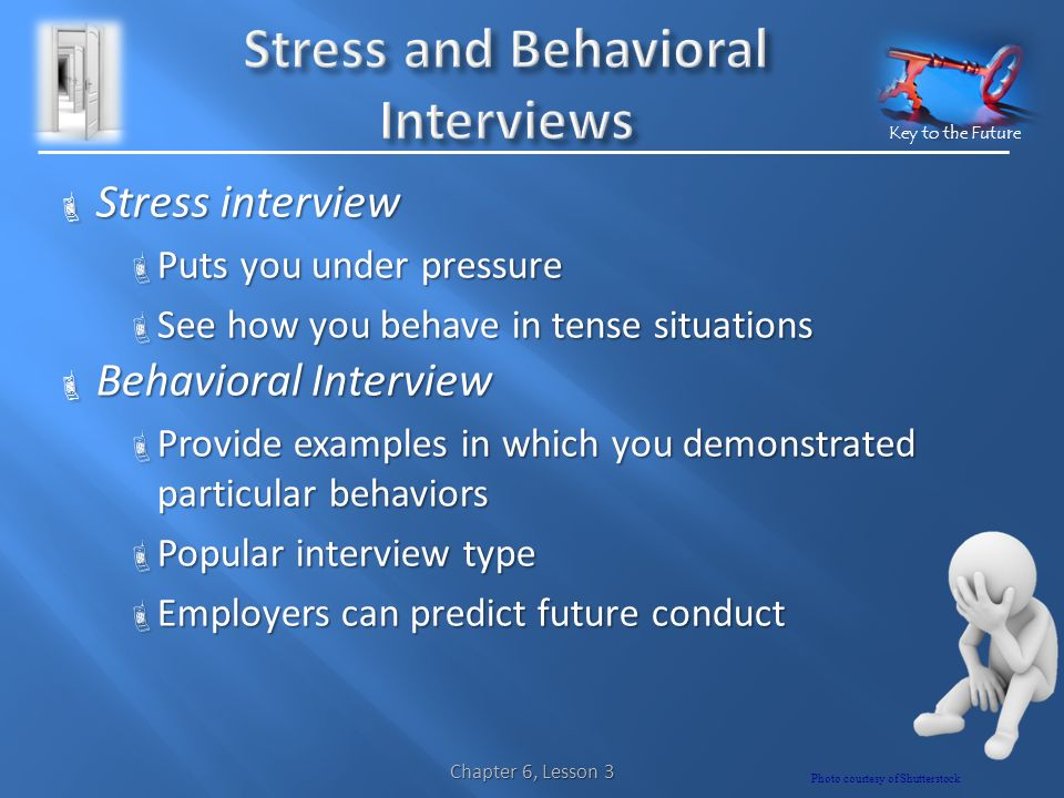 Key to the Future  Stress interview  Puts you under pressure  See how you behave in tense situations  Behavioral Interview  Provide examples in which you demonstrated particular behaviors  Popular interview type  Employers can predict future conduct Chapter 6, Lesson 3 Photo courtesy of Shutterstock