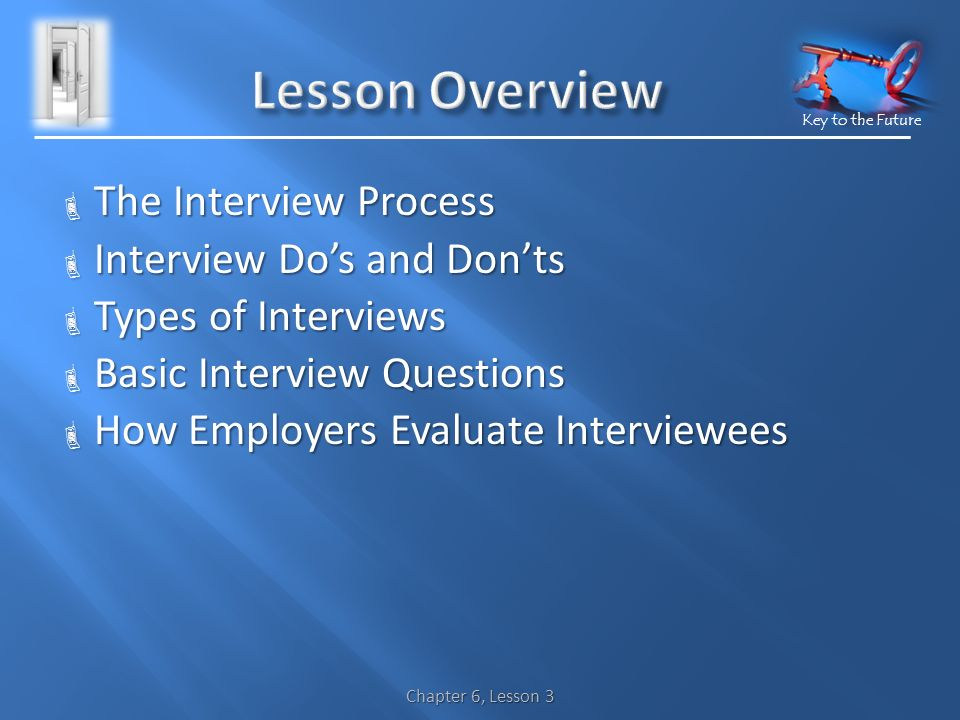 Key to the Future  The Interview Process  Interview Do's and Don'ts  Types of Interviews  Basic Interview Questions  How Employers Evaluate Interviewees Chapter 6, Lesson 3