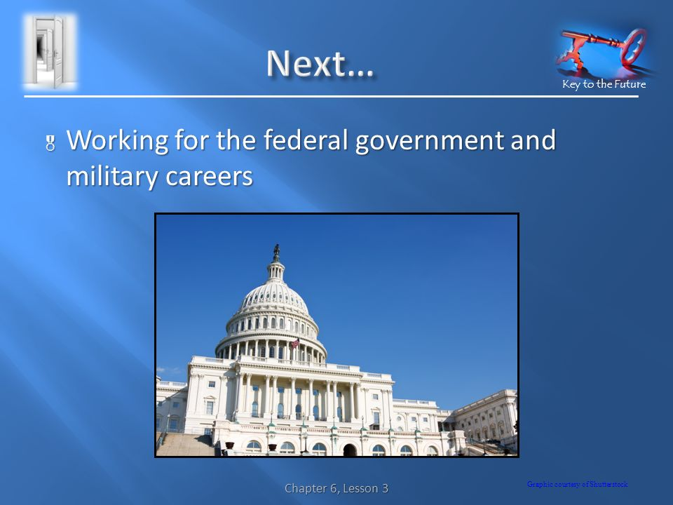 Key to the Future  Working for the federal government and military careers Graphic courtesy of Shutterstock Chapter 6, Lesson 3