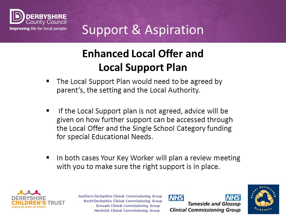 Southern Derbyshire Clinical Commissioning Group North Derbyshire Clinical Commissioning Group Erewash Clinical Commissioning Group Hardwick Clinical Commissioning Group Support & Aspiration Enhanced Local Offer and Local Support Plan  The Local Support Plan would need to be agreed by parent's, the setting and the Local Authority.