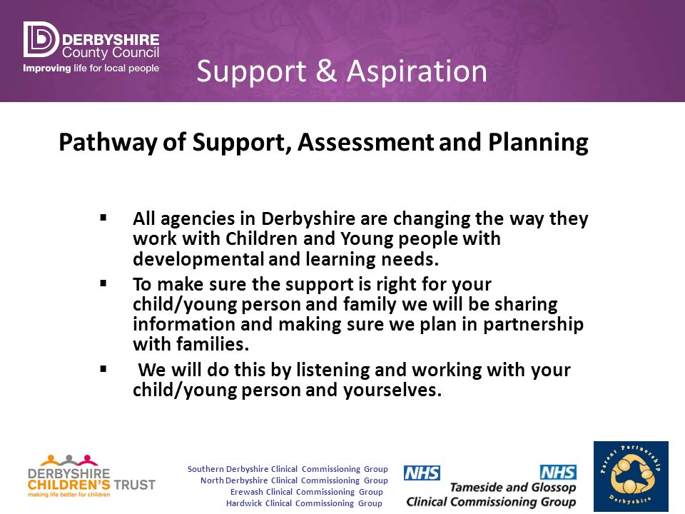 Southern Derbyshire Clinical Commissioning Group North Derbyshire Clinical Commissioning Group Erewash Clinical Commissioning Group Hardwick Clinical Commissioning Group Support & Aspiration Pathway of Support, Assessment and Planning  All agencies in Derbyshire are changing the way they work with Children and Young people with developmental and learning needs.