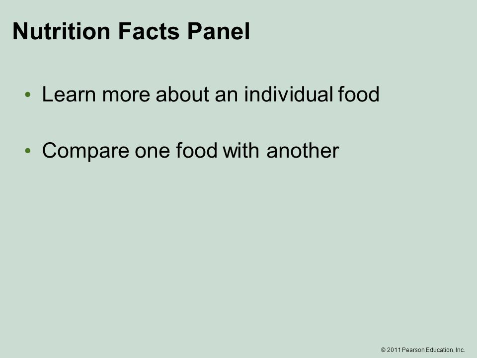Nutrition Facts Panel Learn more about an individual food Compare one food with another