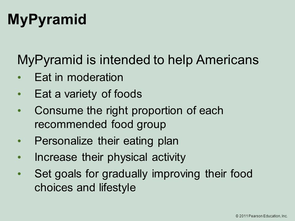 MyPyramid MyPyramid is intended to help Americans Eat in moderation Eat a variety of foods Consume the right proportion of each recommended food group Personalize their eating plan Increase their physical activity Set goals for gradually improving their food choices and lifestyle