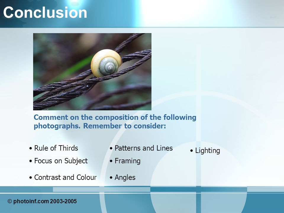 Conclusion Comment on the composition of the following photographs.