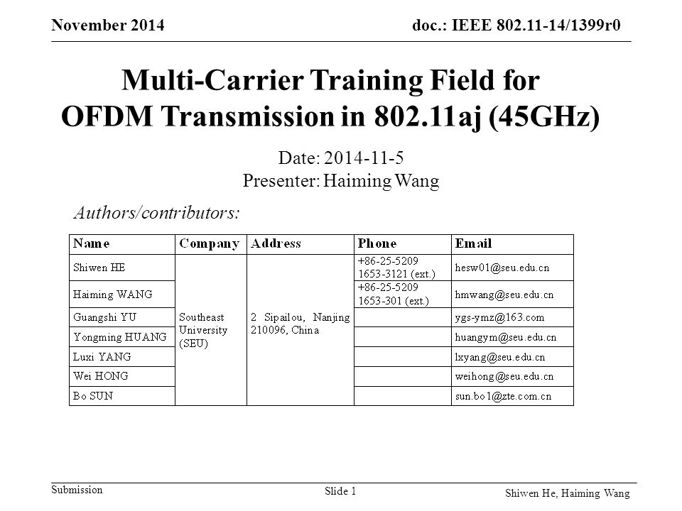 doc.: IEEE /1399r0 Submission November 2014 Multi-Carrier Training Field for OFDM Transmission in aj (45GHz) Authors/contributors: Date: Presenter: Haiming Wang Slide 1 Shiwen He, Haiming Wang
