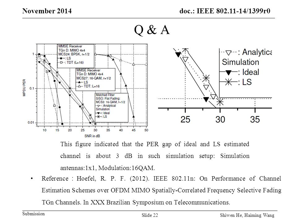 doc.: IEEE /1399r0 Submission November 2014 Q & A Reference : Hoefel, R.