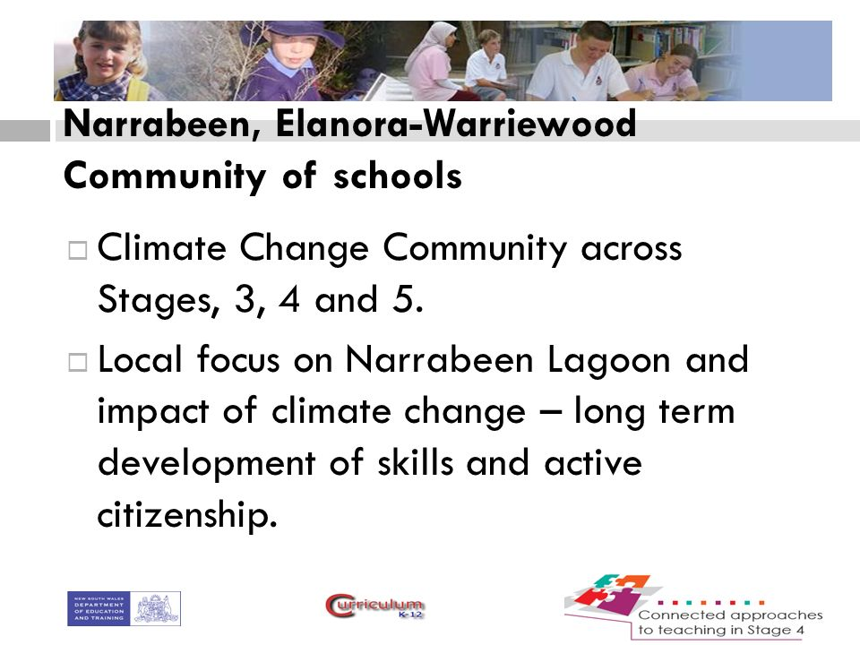 Narrabeen, Elanora-Warriewood Community of schools  Climate Change Community across Stages, 3, 4 and 5.