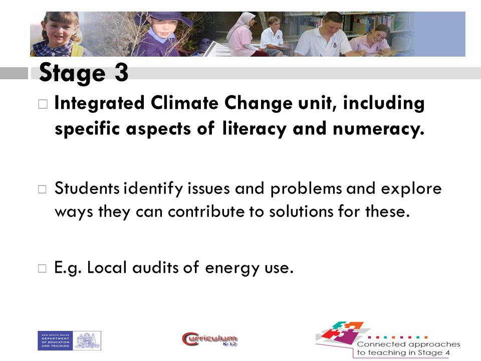 Stage 3  Integrated Climate Change unit, including specific aspects of literacy and numeracy.