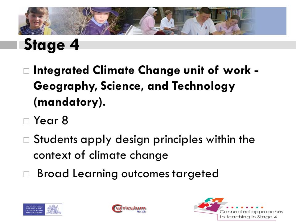 Stage 4  Integrated Climate Change unit of work - Geography, Science, and Technology (mandatory).
