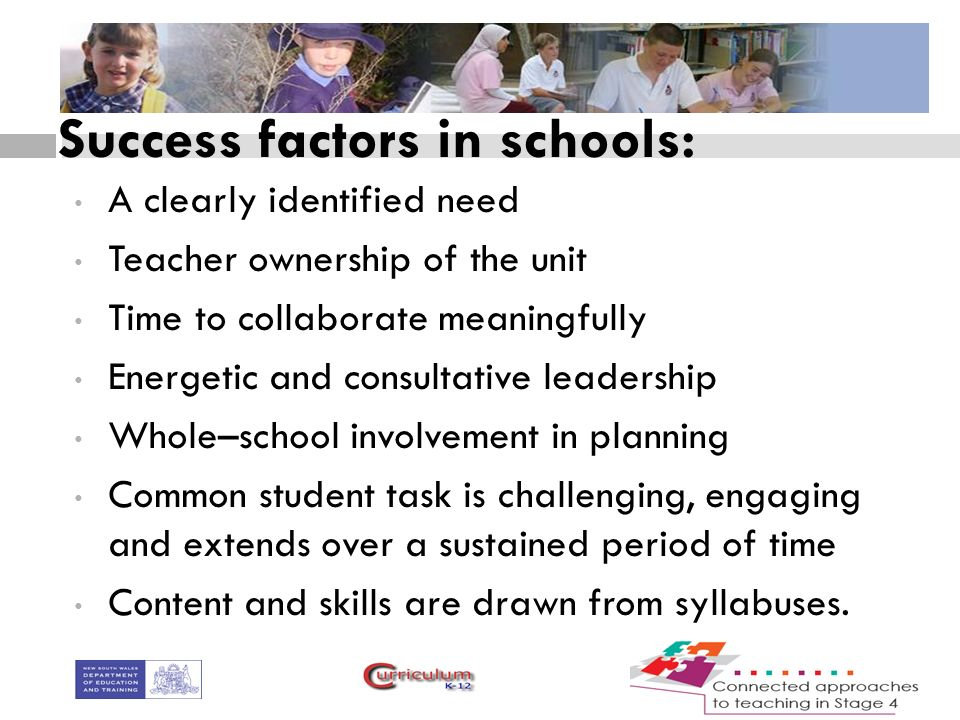 Success factors in schools: A clearly identified need Teacher ownership of the unit Time to collaborate meaningfully Energetic and consultative leadership Whole–school involvement in planning Common student task is challenging, engaging and extends over a sustained period of time Content and skills are drawn from syllabuses.