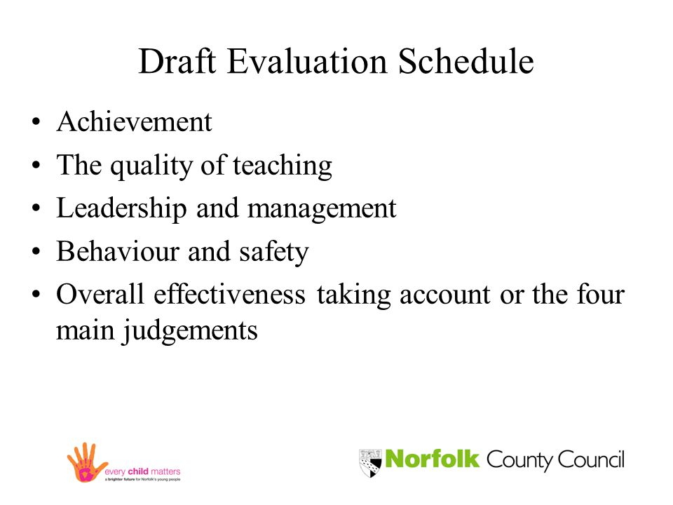 Draft Evaluation Schedule Achievement The quality of teaching Leadership and management Behaviour and safety Overall effectiveness taking account or the four main judgements