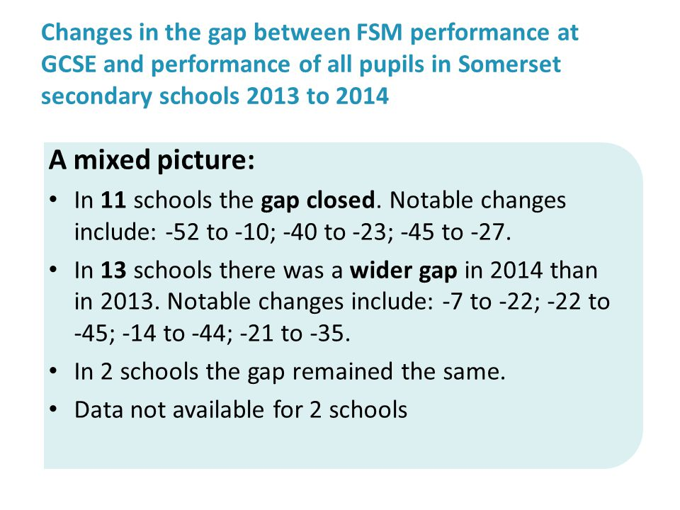 Changes in the gap between FSM performance at GCSE and performance of all pupils in Somerset secondary schools 2013 to 2014 A mixed picture: In 11 schools the gap closed.
