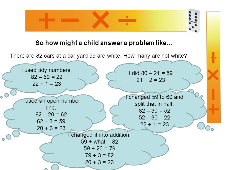 So how might a child answer a problem like… There are 82 cars at a car yard 59 are white.