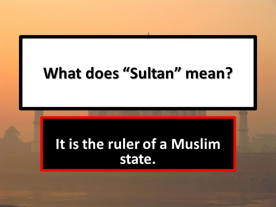 What does Sultan mean It is the ruler of a Muslim state.