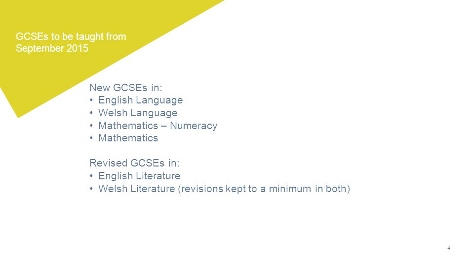 4 GCSEs to be taught from September 2015 New GCSEs in: English Language Welsh Language Mathematics – Numeracy Mathematics Revised GCSEs in: English Literature Welsh Literature (revisions kept to a minimum in both)