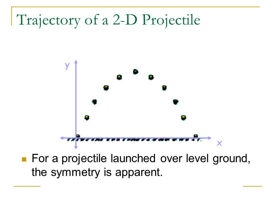 Trajectory of a 2-D Projectile x y For a projectile launched over level ground, the symmetry is apparent.