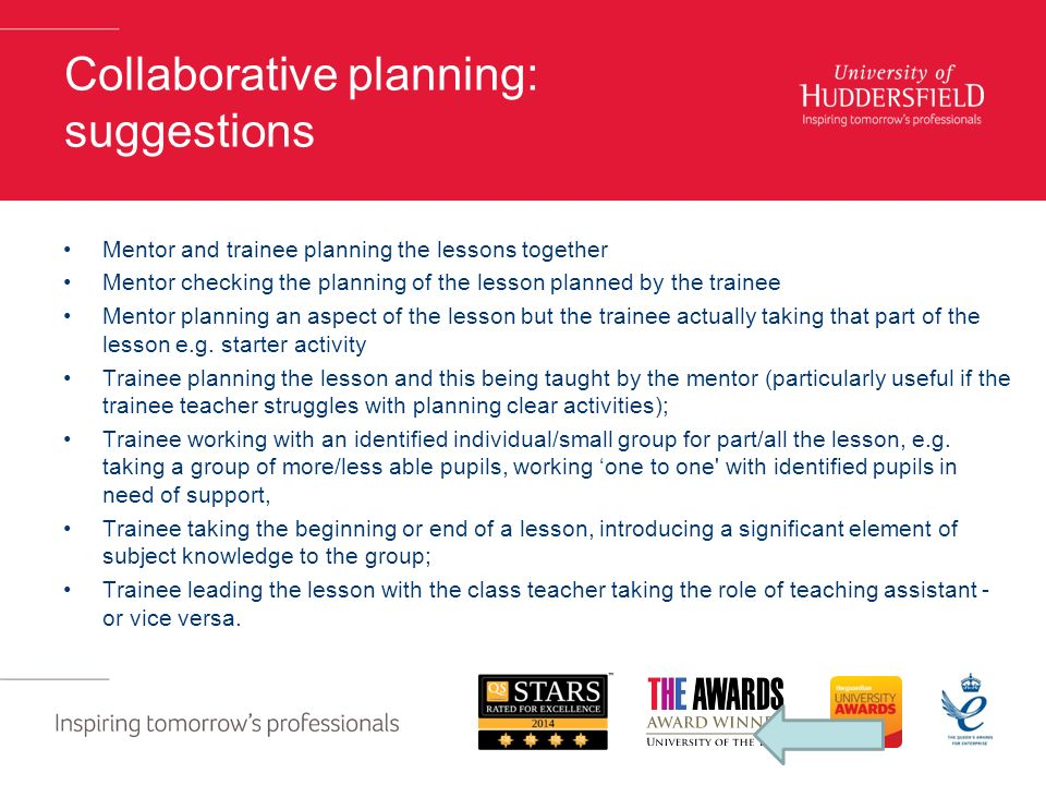 Collaborative planning: suggestions Mentor and trainee planning the lessons together Mentor checking the planning of the lesson planned by the trainee Mentor planning an aspect of the lesson but the trainee actually taking that part of the lesson e.g.