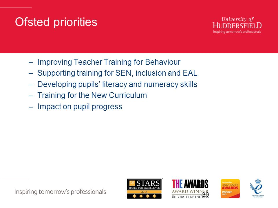 Ofsted priorities –Improving Teacher Training for Behaviour –Supporting training for SEN, inclusion and EAL –Developing pupils' literacy and numeracy skills –Training for the New Curriculum –Impact on pupil progress 30
