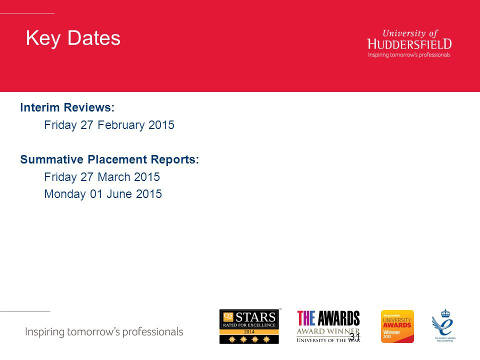Key Dates Interim Reviews: Friday 27 February 2015 Summative Placement Reports: Friday 27 March 2015 Monday 01 June
