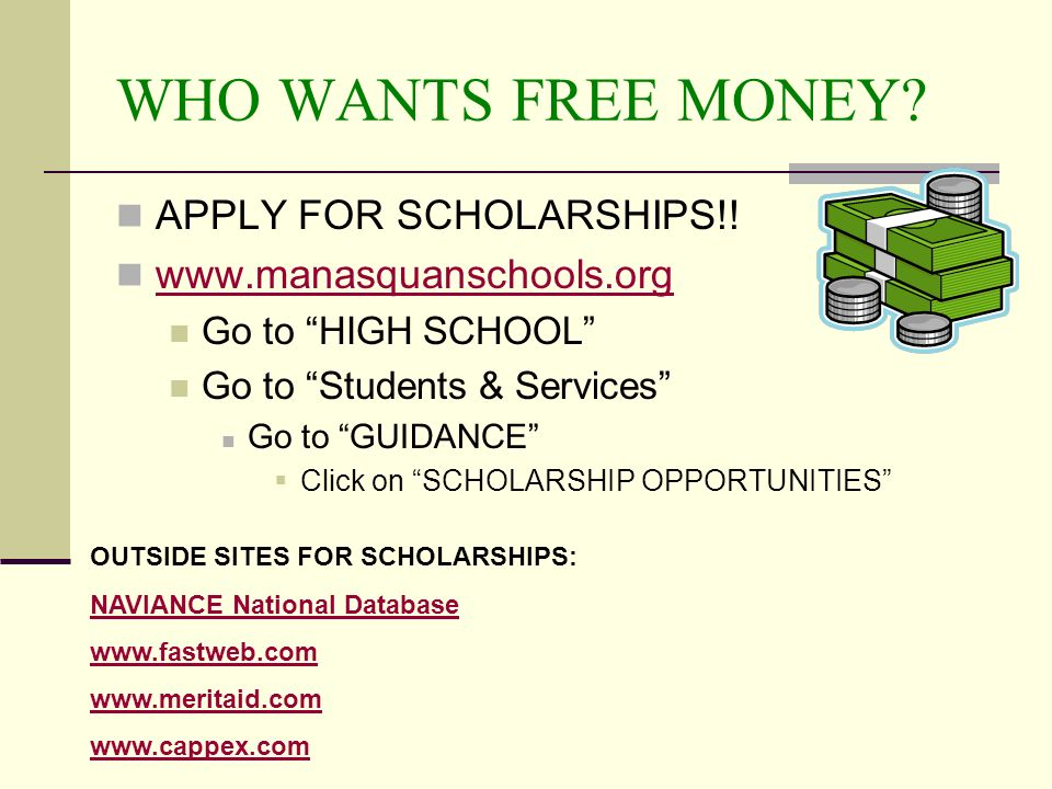 WHO WANTS FREE MONEY. APPLY FOR SCHOLARSHIPS!.