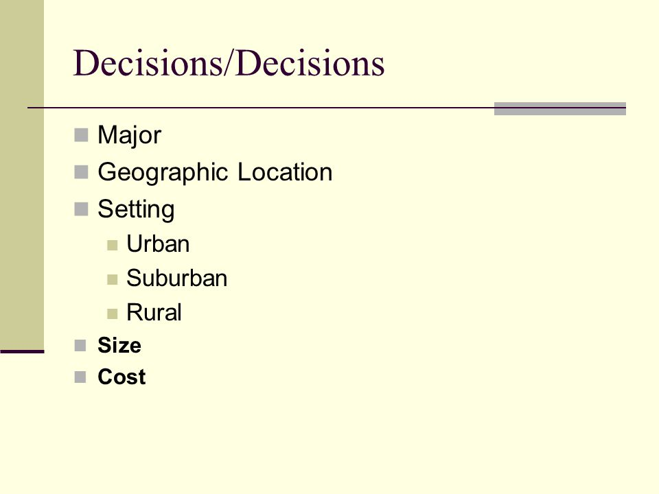 Decisions/Decisions Major Geographic Location Setting Urban Suburban Rural Size Cost