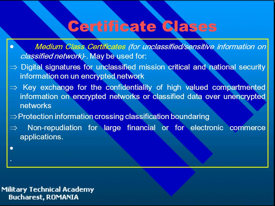 Certificate Clases  Medium Class Certificates (for unclassified/sensitive information on classified network)-.