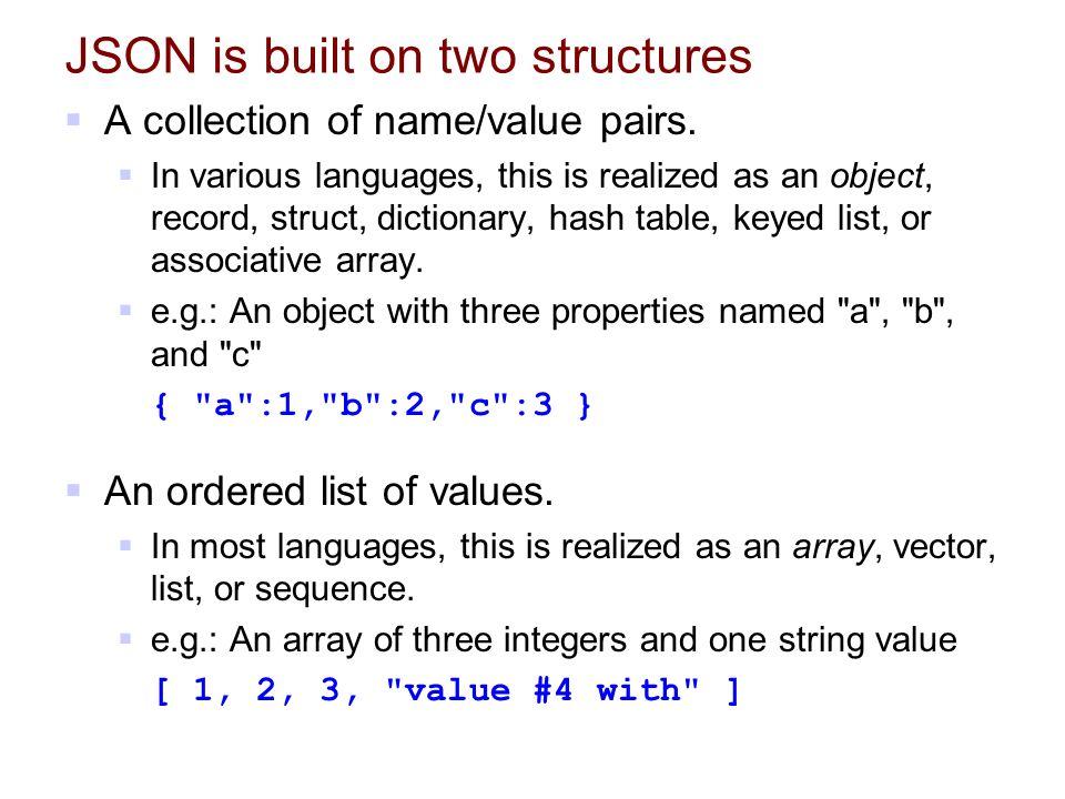 JSON (JavaScript Object Notation)   A lightweight data